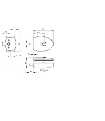 Serrure de forme elliptique à bouton pour porte en verre