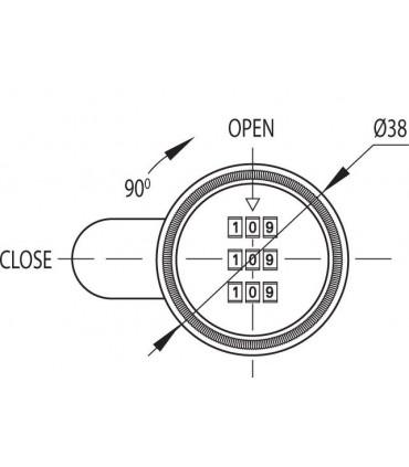 Serrure à bouton ouverture avec code 3 chiffres