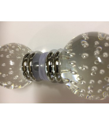 Paire de poignée bouton sphère Ø 40 mm en verre bullé