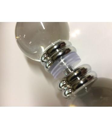 Paire de poignée bouton sphère Ø 40 mm en verre transparent