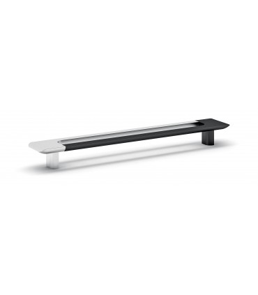 Poignée de meuble bi-color chrome brillant et noir