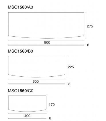 Tablette en verre avec découpe convexe série MS01560 par Confalonieri