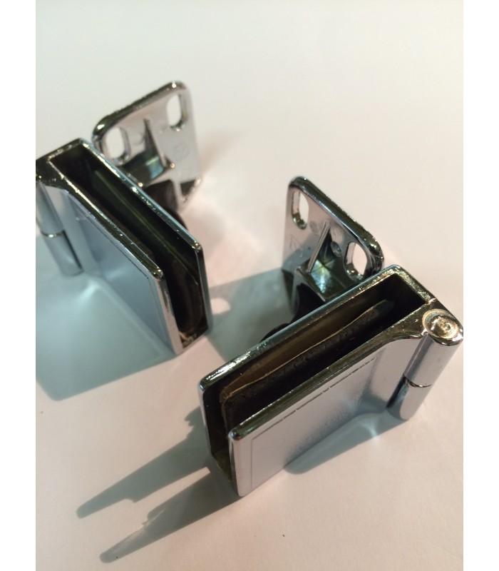 Paire de charnières haute & basse à blocage pour porte en verre d'épaisseur maxi 6 mm
