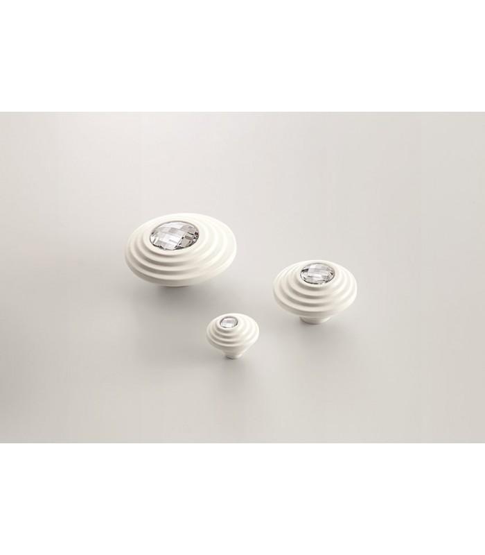 Bouton de meuble série Twist cristal Swarovski transparent base blanche