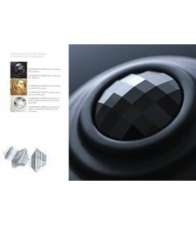 Bouton de meuble Twist cristal Swarovski noir base noire mat
