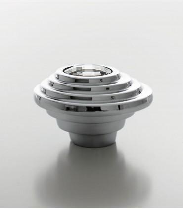 Bouton de meuble Twist cristal Swarovski transparent base chromé brillant