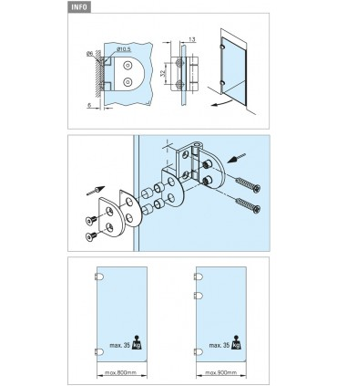 Charnière pour porte en verre fixation contre mur