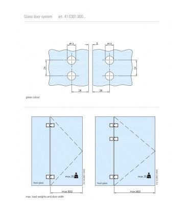 Charnière forme carrée fixation verre sur verre