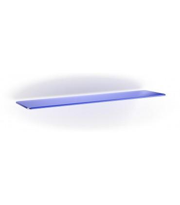 Tablette en verre ép.6 mm avec 2 angles arrondis BLEU