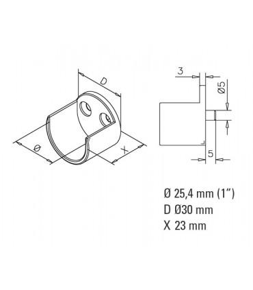 Embase ouverte pour barre de penderie Ø 25 mm