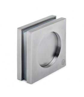 Poignée insert forme carrée pour porte coulissante en verre
