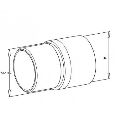 Raccord de liaison 180° bois sur tube inox Ø 42.4 x 2 mm