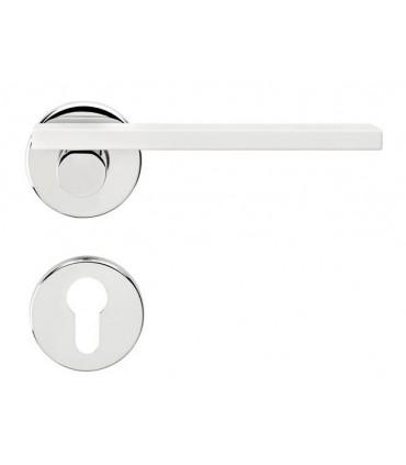 Poignée de porte Minima MN12 chrome brillant et blanc