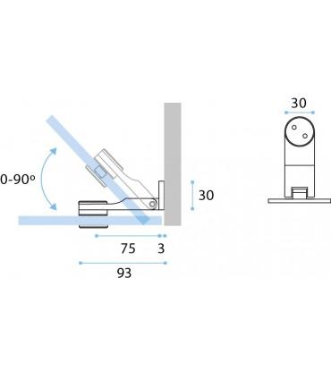 Charnière inox ouverture à 90° mur sur verre