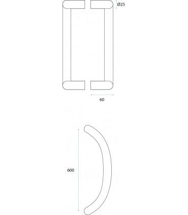 Poignée monobloc inox Ø 25 mm série 294