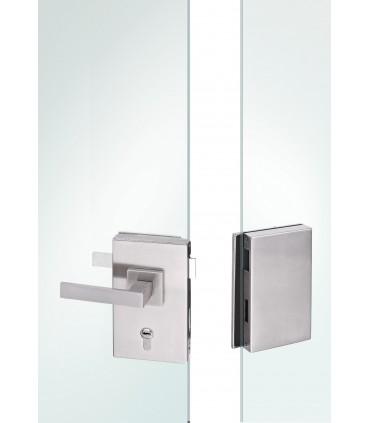 Serrure rectangulaire verticale avec gâche pour double porte en verre