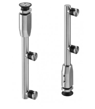 Charnière verticale en inox pour porte de vitrine en verre