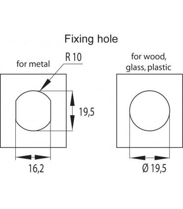 Serrure batteuse face conique détail du trou pour le montage