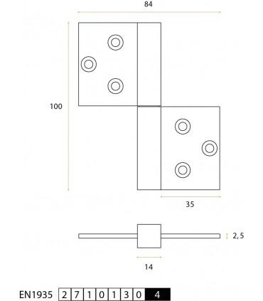 Charnière réversible série square 14 mm