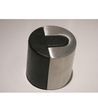 Butée de porte design en inox et gomme noire