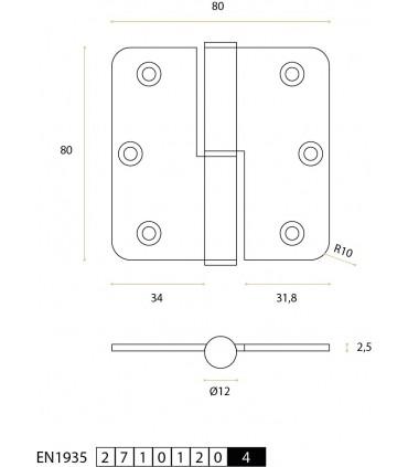 Charnière en inox 80 x 80 x 2.5 mm