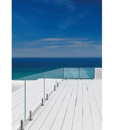 Pince à verre ht.250 mm en inox pour garde corps de terrasse et piscine