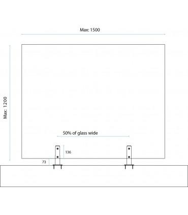 Pince à verre ht.209 mm sur embase en inox pour garde corps de terrasse et piscine