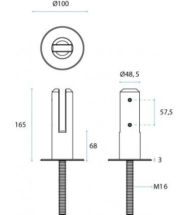 Pince à verre ht.165 mm sur embase en inox pour garde corps de terrasse et piscine