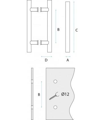 Poignée bâton maréchal entraxe 300 mm