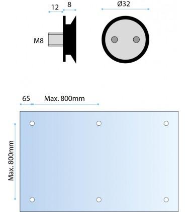 Fixation ponctuelle fraisée Ø 32 mm pour volume en verre