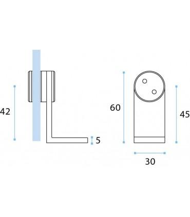 Equerre de fixation pour volume en verre