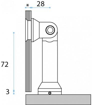 Raccord pour la fixation d'un volume en verre contre un mur