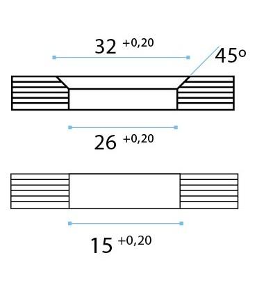 Raccord entre deux volumes en verre à 90°