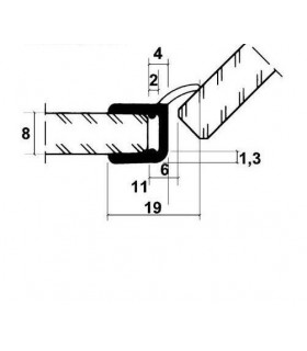 Joint d'étanchéité à 45° pour verre