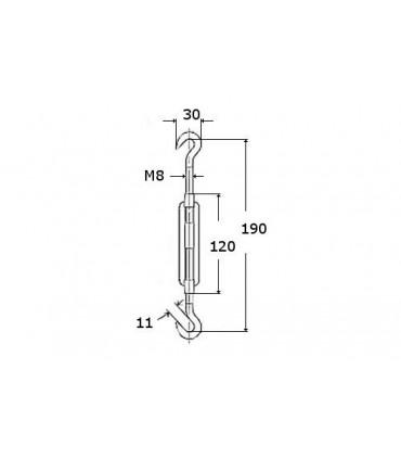 Tendeur double crochet en inox aisi 316 sur tige M8