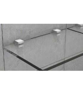 Support inox carré pour petite étagère en verre