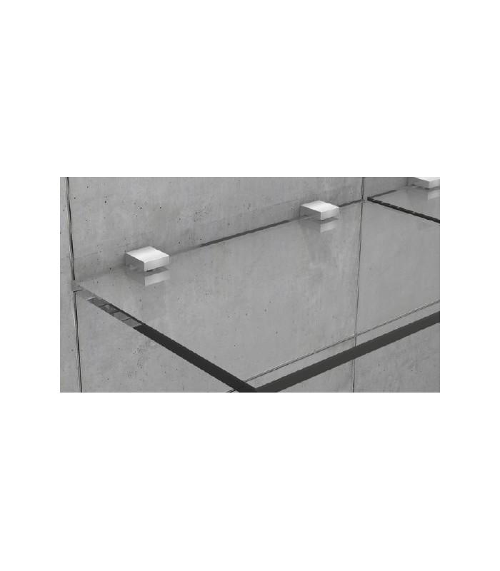 Support inox carré pour petite étagère en verre   IGS Déco