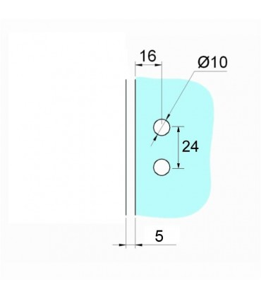 Charnière pour porte de vitrine en verre montage verre sur bois