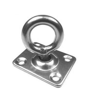 Pontet inox sur platine rectangle avec anneau mobile