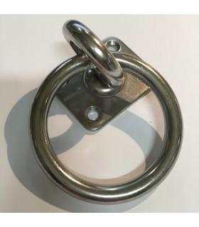 Pontet inox sur platine rectangle avec anneau mobile et anneau soudé