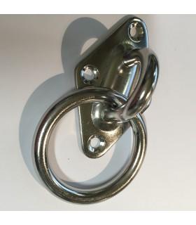 Pontet inox sur platine losange avec anneau mobile