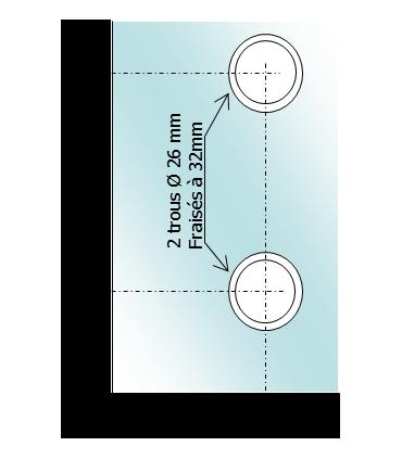 Penture haute ou basse montage vertical pour porte sécurit en verre