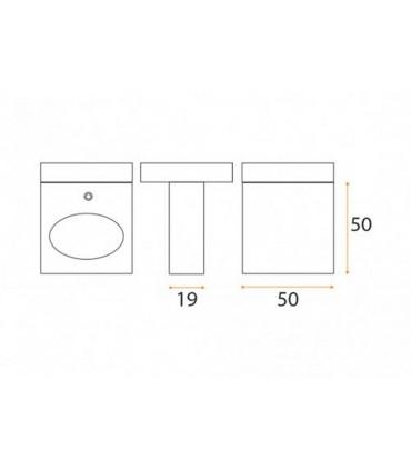 Poignée bouton carré plat