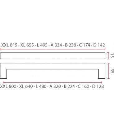 Poignée angulaire inox tube carré 15/15