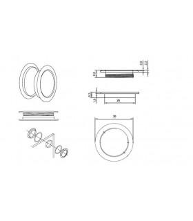 Poignée anneau borgne 30 mm pour porte coulissante en verre