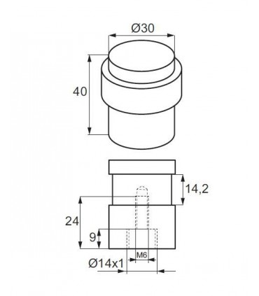 Butée de porte cylindrique en inox