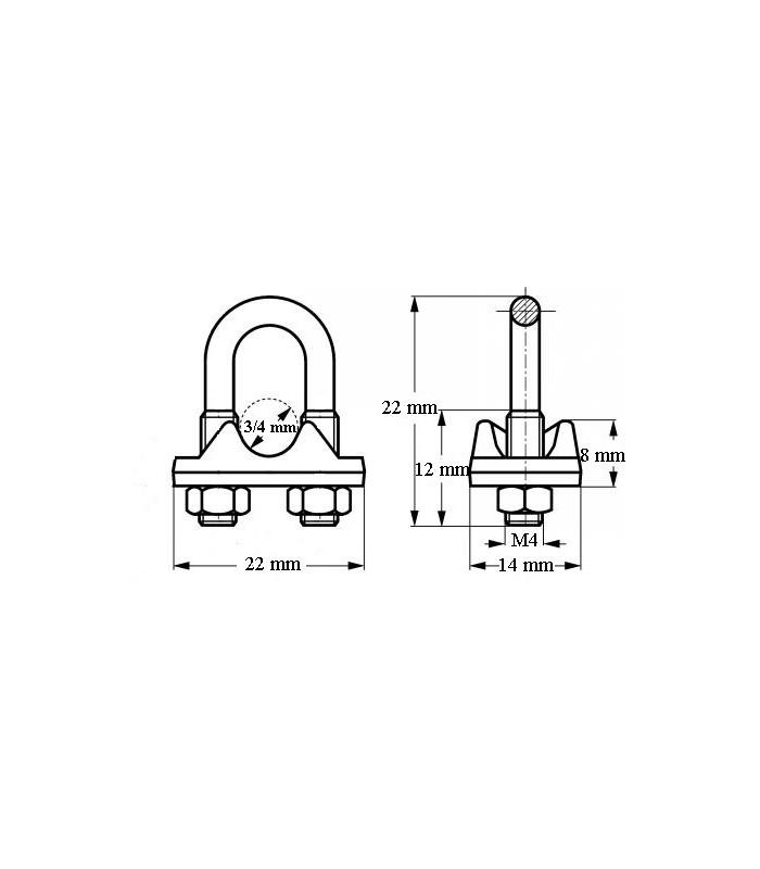 Audacieuse Serre câble étrier en inox 316 pour diamètre 3, 4, 5 ou 6 mm - IGS DV-45