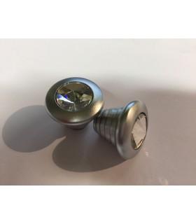 Bouton décoratif rond métal et verre série Sparkle
