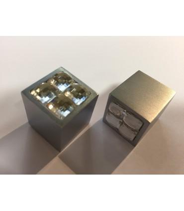 Bouton décoratif carré métal et verre série Sparkle 20/4