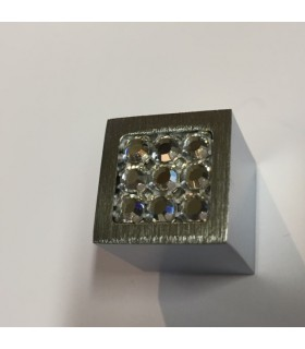 Bouton décoratif carré métal et verre série Sparkle 18/9